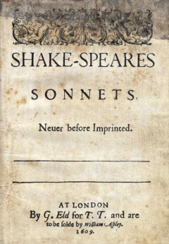 title page of the original 1609 quarto edition of Shakespeare's sonnets